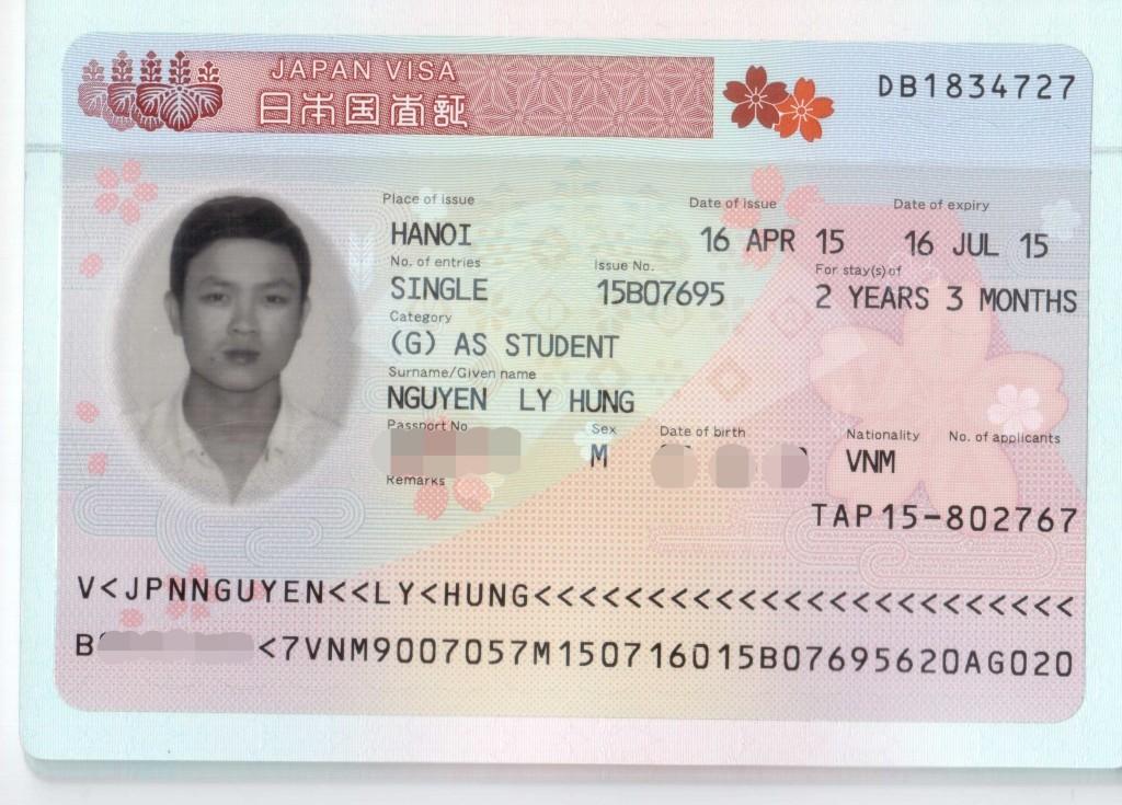 Visa du học Nhật của Nguyễn Lý Hùng