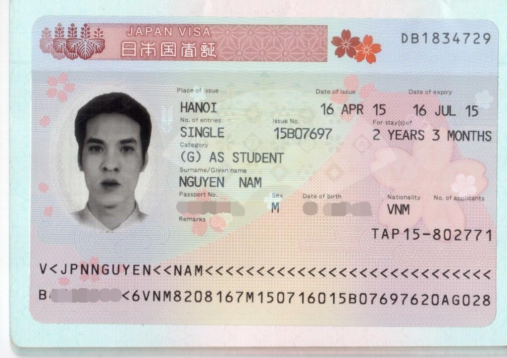 Visa du học Nhật của Nguyễn Nam