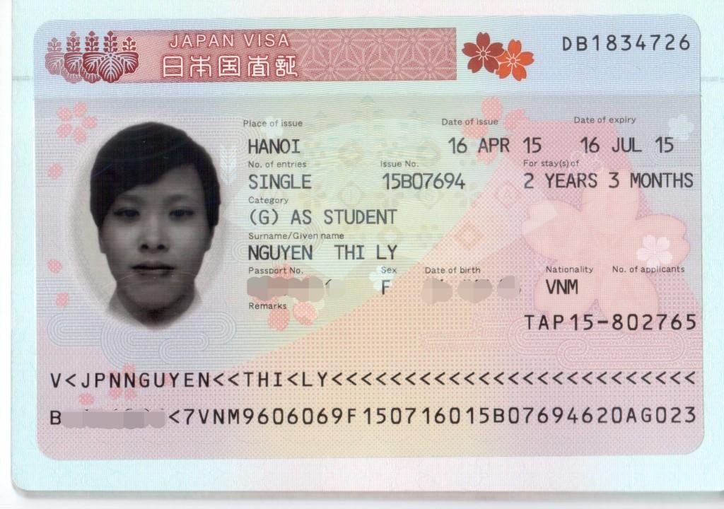 Visa du học Nhật của Nguyễn Thị Ly